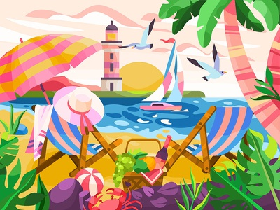 Summer holiday paradise travel sand sea palm relax holiday summer beach