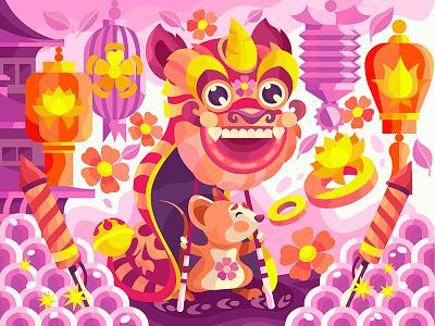 Happy Chinese new year celebration festival dance fun art fireworks china lion