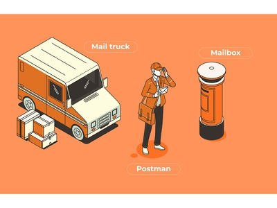 Postman worker vector service person occupation man isolated illustration flat element design people cartoon uniform postman