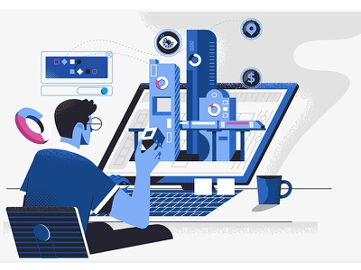 Developer design analysis branding concept computer people technology illustration vector business