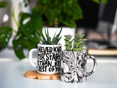 DIY Lettering Mugs succulents product photography lettering mug botanical illustration handmade waterdecals printmaking lettering art mugs diy personalized