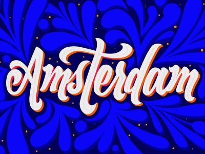 Amsterdam Lettering floral design amsterdam holland travel lettering procreate ipad pro illustration logo modern lettering lettering artist typography design lettering 3d letters