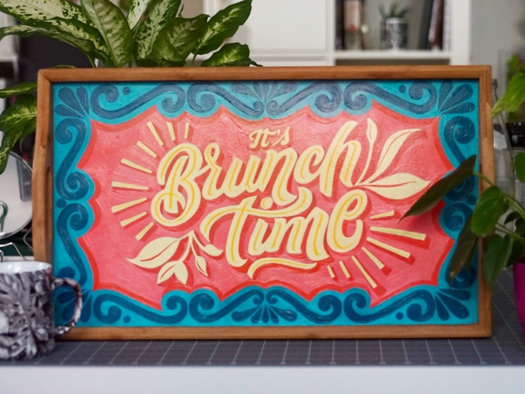 Brunch Time Hand painted Wood Tray diy modern lettering typeeverything lettering on everything home decor personalized design handmade acrylic painting illustration sign painting graphic  design wood tray lettering hand painting hand lettering
