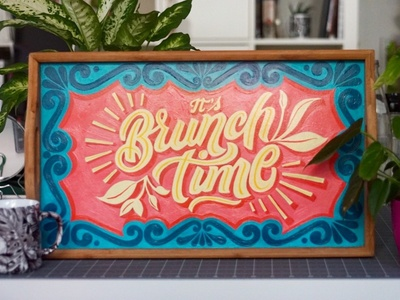 Brunch Time Hand painted Wood Tray