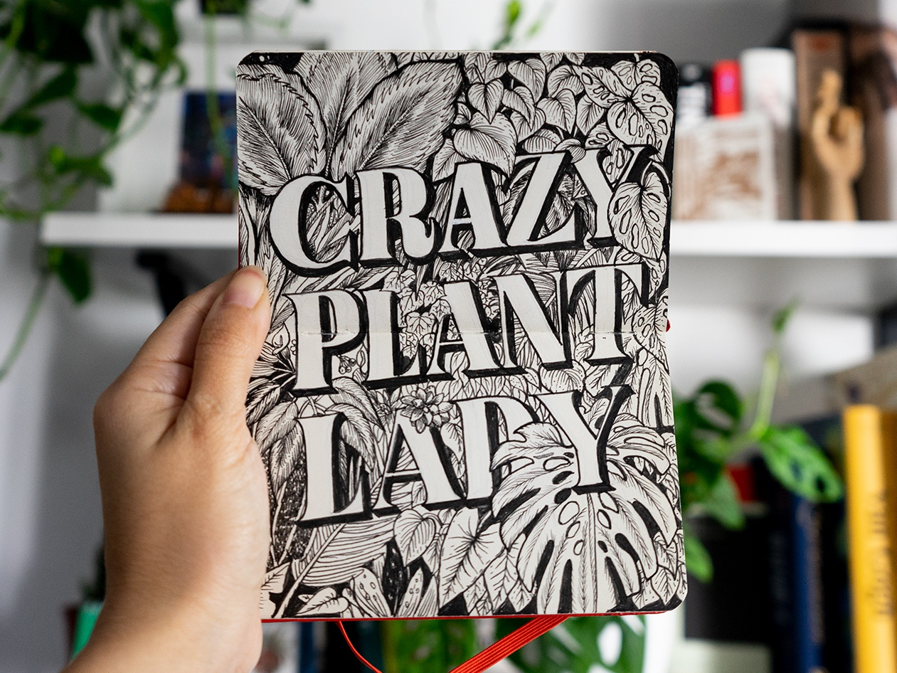 Crazy Plant Lady Lettering handmade typography handmade lettering sketch ink illustration moleskine sketchbook sketchbook shot handlettering modern lettering lettering artist typography lettering botanical illustration floral illustration plants