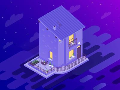 Our Isometric House by Night digital art vector artwork vector art architecture digital illustration ilustracion graphic  design isometria illustrator illustration isometric illustration isometric art