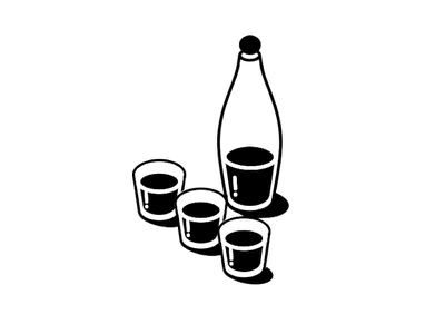 My first ...  'SHOT' vector illustration icon 50s retro dribbble debut shots alcohol