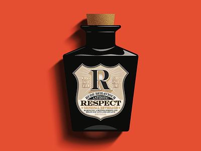 R is for Respect bottle ephemera vintage traditional packaging package vector logo design illustration type logotype branding badge typography