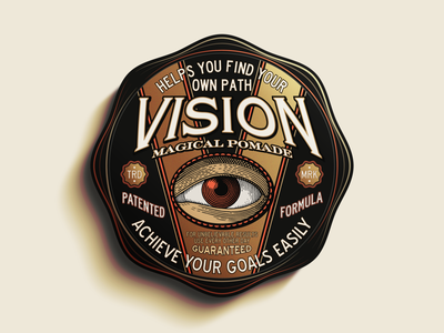 V is for Vision ephemera vintage packaging package logo vector design illustration type logotype branding badge typography