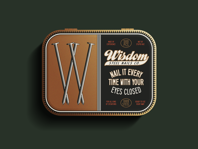 W is for Wisdom ephemera vintage packaging package vector logo design illustration type logotype branding badge typography