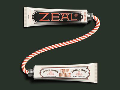Z is for Zeal ephemera vintage packaging package vector logo design illustration type logotype branding badge typography