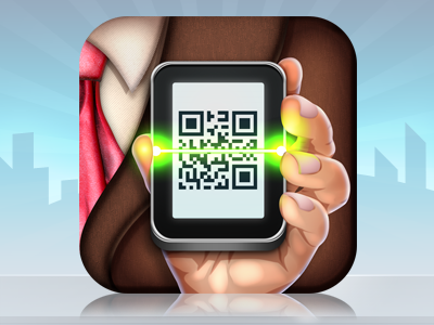 Digital Business Card Icon iphone icon app card suit mobile qr reader tie hand vector photoshop icons