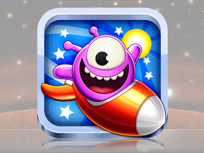 The Ories: Super Space Monsters - iphone icon alien spaceship rocket cute ship game iphone app icon stars sun monster the ories