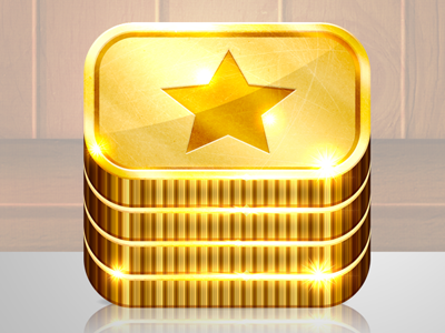 Super Shiny Coins Icon for an ios coin dozer game coins stack cash gold money glitz sparkle iphone