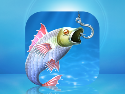 I'm gonna eat you little fishy... fish fishing hook undersea underwater app icon iphone skeuomorph bass blue ocean
