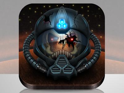 Dead demonic space marine on mars...icon skull helmet space marine mars sci-fi iphone ios icon game evil app icon iphone icon