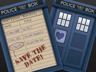Save the date card wedding card tardis library police save the date library card phone box