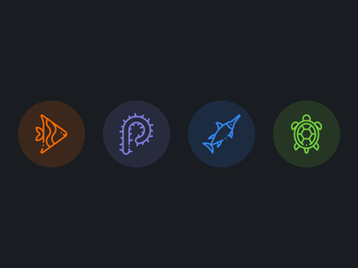 sea animal icon web design illustrations icon design clean dribbble design illustration icon set branding vector logo dark mode