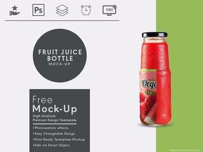 Fruit Juice Bottle Mock up Free Psd Template psd free mock up mockup label juice bottle glass