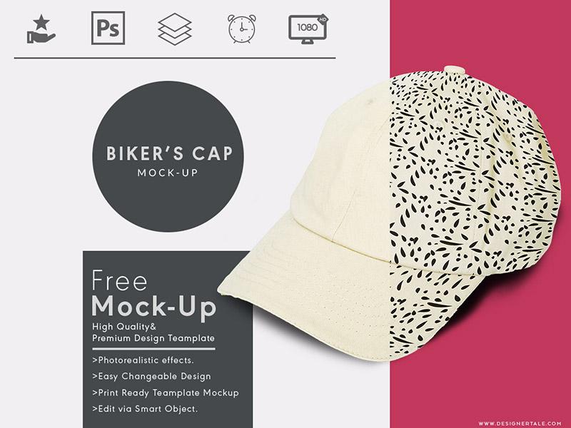 Bikers Cap Free Mock Up Template showcase design cap boy bikers photohsop psd mock up mockup free