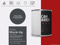 Tin Container Packaging Free Mock Up