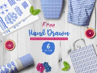 Hand Drawn Water Color Vector Free Pattern Template