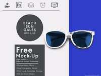 Beach Sun Glass Top View Free Psd Mock Up