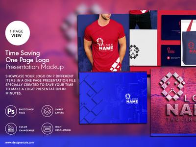 Time Saving Logo Presentation Mockup In One Page
