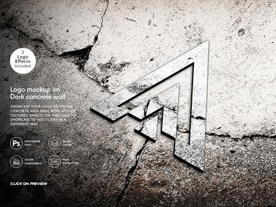 Logo Mockup On Textured Dark Concrete Wall