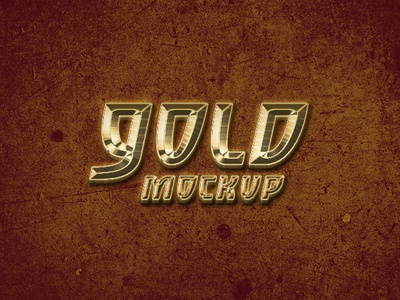 Solid Gold Effect Logo Mockup PSD Template