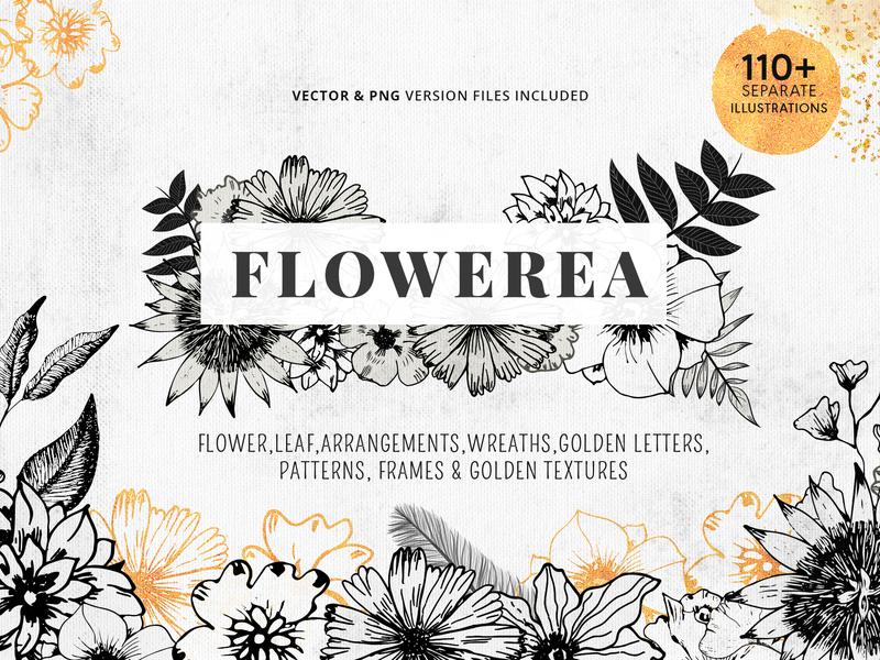 Flowerea A Collection Of Pen Drawn Floral Graphics Bundle Image template lettering arrangement wreaths frames textures cards wedding packaging floral golden leaf illustration flower