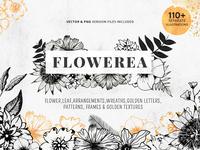 Flowerea A Collection Of Pen Drawn Floral Graphics Bundle Image