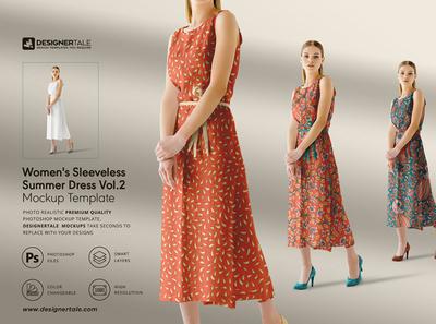 Women Sleeveless Summer Dress Mockup