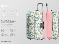 Tourist trolley luggage mockup