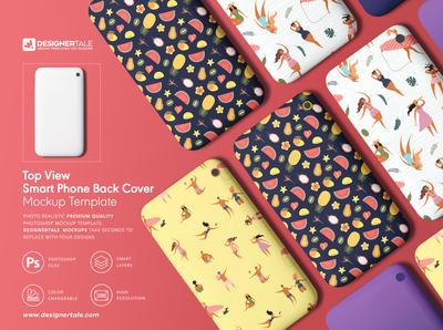 Top view smartphone case mockup