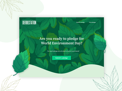 Concept design for World Environment Day pledge green leaf environment tree ui ui design web design web