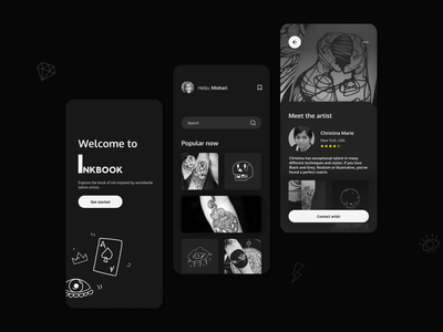 Concept design for tattoo mobile app minimal black ui design mobile design web design mobile web tattoo mobile design tattoo web design tattoo