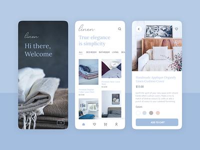Concept app design for linen shop app design mobile app shop app modern minimal blue app blue indicolite clothing app clothing bed sheet app linen app bedsheet bed linen