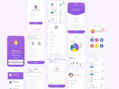 Quiz app minimal purple mobile app design quiz app design quiz app