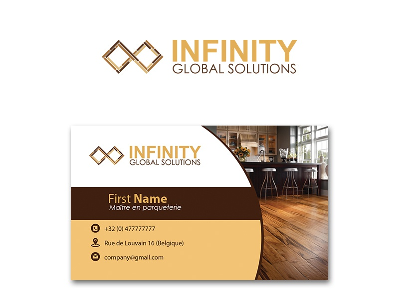 Infinity logo and business card business card design brand design parquet business card web typography brand-identity photoshop logo flat branding vector illustration dribbbble graphic art graphic design