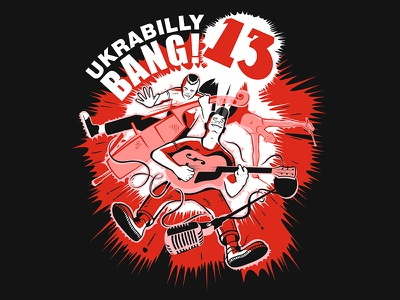 Ukrabilly Bang #13 psychobilly rockabilly rocknroll wildchildgraphic vektorgraphic illustration musicfesteval 13 ukrabillybang