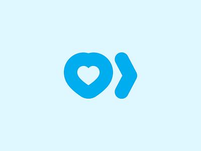 Reach and Connect Logomark forward arrow heart branding identity logo