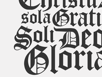 5 Solas Poster soli deo gloria 5 solas reformed ornate type blackletter typography