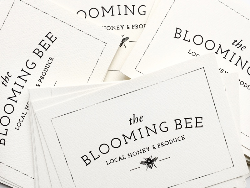 The Blooming Bee Logo bees bee produce stationery local honey homestead modern farm branding logo
