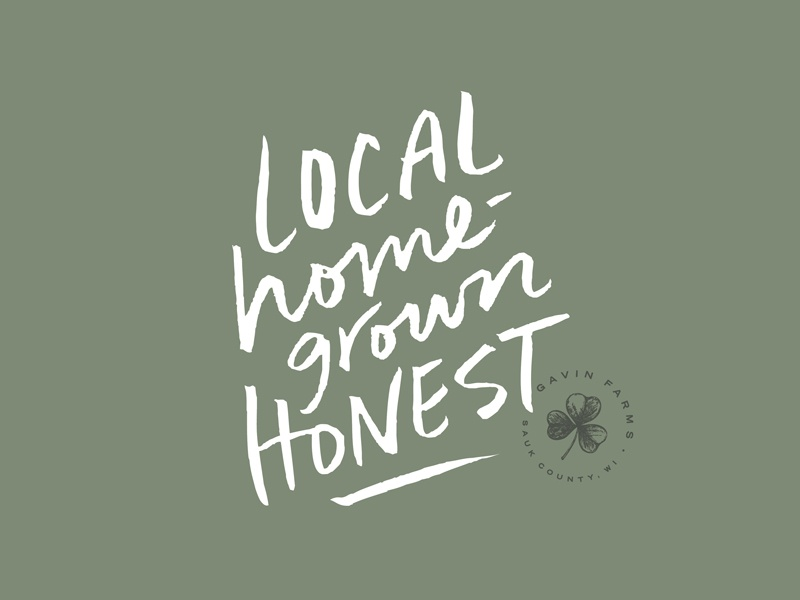 Gavin Farms T-Shirt Graphic tagline homegrown local organic brand farm logo logo badge tshirt graphic hand lettering