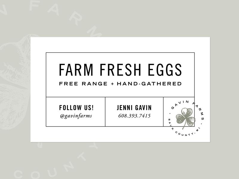 Gavin Farms Egg Punch Card farm wisconsin punch card fresh eggs shamrock clover badge farm brand farm logo business card