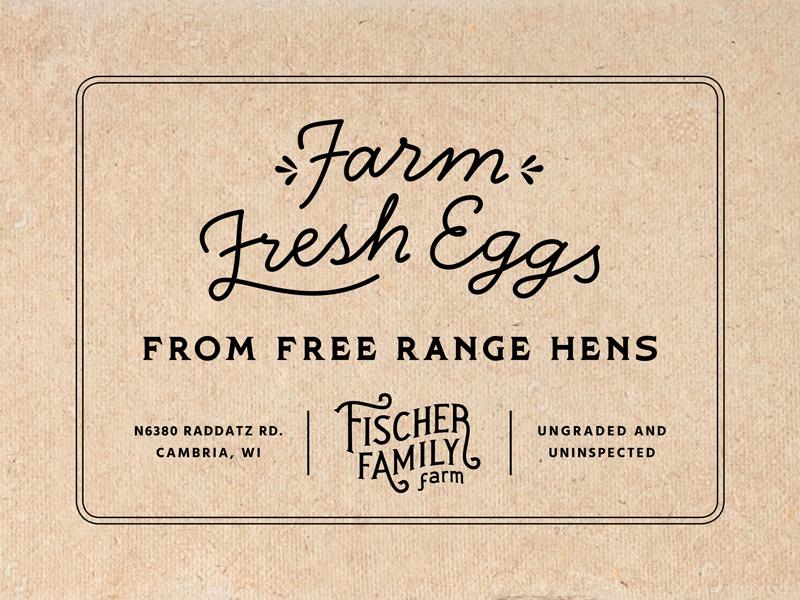 Fischer Family Farm Egg Carton Stamp vintage logo farmer packaging farm fresh fresh eggs egg carton chickens farm brand farm