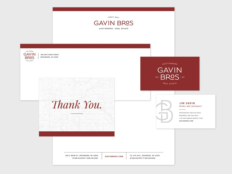 Gavin Bros. Auctioneers | Real Estate letterhead notecard business card stationery real estate logo agriculture auctioneer brand logo real estate