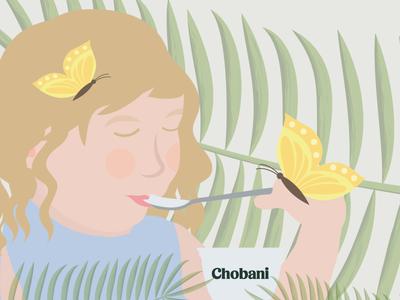 Chobani butterfly cute design character vector chobani daily color love girl illustration