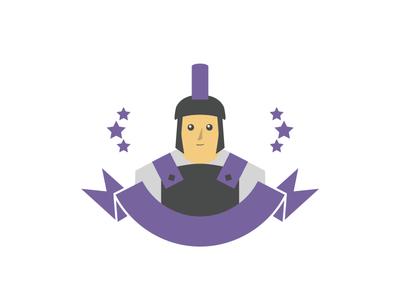 Logo for Hackathon purple character hackathon vector warrior daily color logo illustration